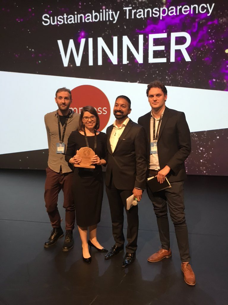 Sustainability Transparency Winner at The Planet Mark Awards 2019
